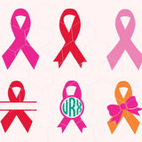 Cancer awareness ribbon, monogram, bow  in svg, dxf, png, eps - rhinestone templates