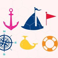 Nautical, yacht, whale, anchor, compass, flag, spade in svg, dxf, png,format. Instant download for Cricut Design Space and Silhouette Studio - rhinestone templates
