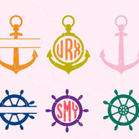 Nautical, anchor, monogram in svg, dxf, png,format. Instant download for Cricut Design Space and Silhouette Studio Instant digital download - rhinestone templates