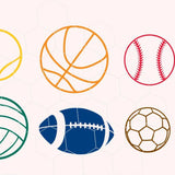 Ballgames balls, baseball, basketball, soccer, tennis, football in svg, dxf, png, eps format - rhinestone templates