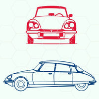 Citroen DS car silhouette  svg, dxf, png format - rhinestone templates
