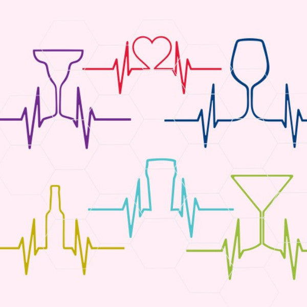 Pulse Heart EKG style,  heart, vine, beer, mimosa, pint  svg, dxf, png,format. Instant download - rhinestone templates