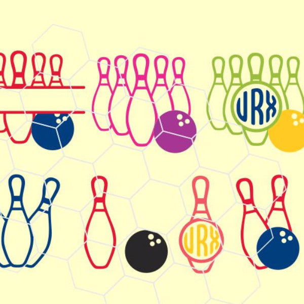 Bowling Monogram Frames Balls And Pins In Svg Dxf Png Eps Format Beehivefiles Rhinestonehive