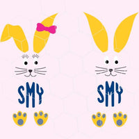 Easter bunny, rabbit, monogram in svg, dxf, png format - rhinestone templates