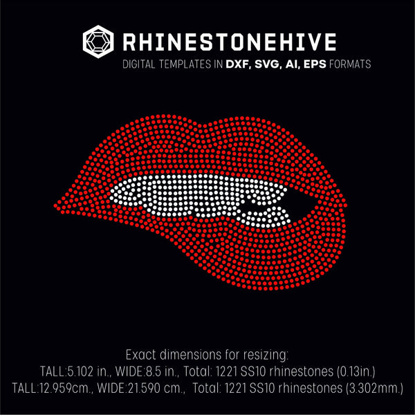 Lips bite large rhinestone template digital download ai svg eps png dxf - Digital file