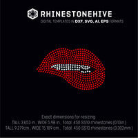 Lips bite small rhinestone template digital download, ai, svg, eps, png, dxf - rhinestone templates