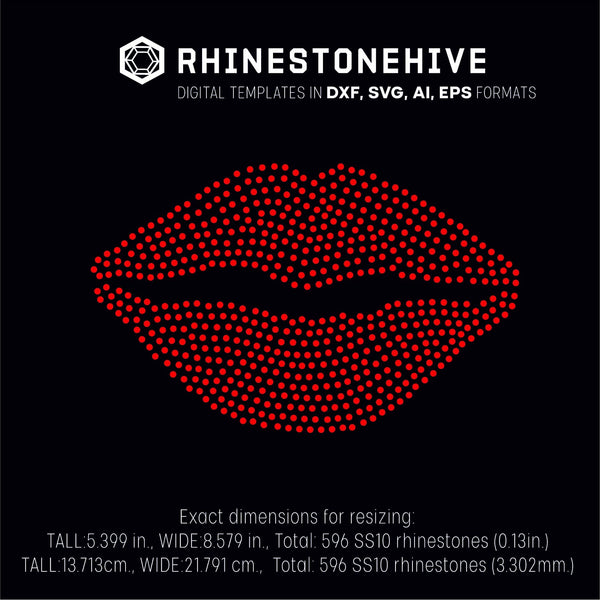 Lips rhinestone template digital download, ai, svg, eps, png, dxf - rhinestone templates