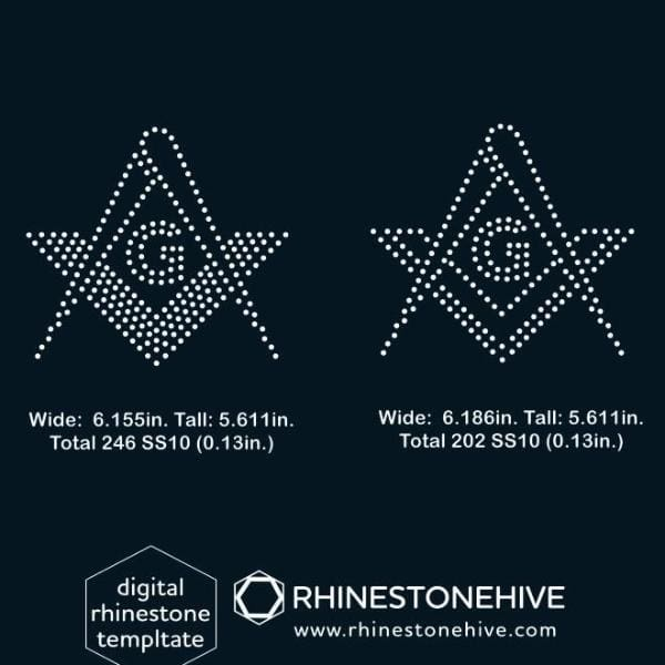 Masonic sign rhinestone template, svg, eps, png, dxf - rhinestone templates
