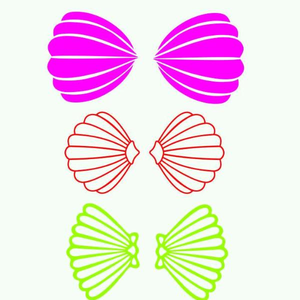Mermaid bra in svg, dxf, png, eps format - rhinestone templates