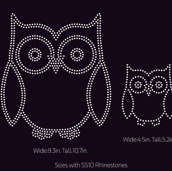 OWL 2 designs rhinestone template digital download, ai, svg, eps, png, dxf - rhinestone templates