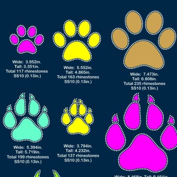 Paws Vinyl and rhinestone template svg eps png dxf - Digital file