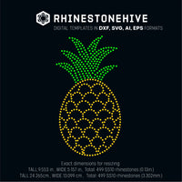 Pineapple rhinestone template digital download, svg, eps, png, dxf - rhinestone templates