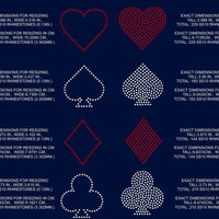 Playing Card Symbols, Heart, Club, Diamond, Spade rhinestone template digital download, svg, eps, png, dxf - rhinestone templates