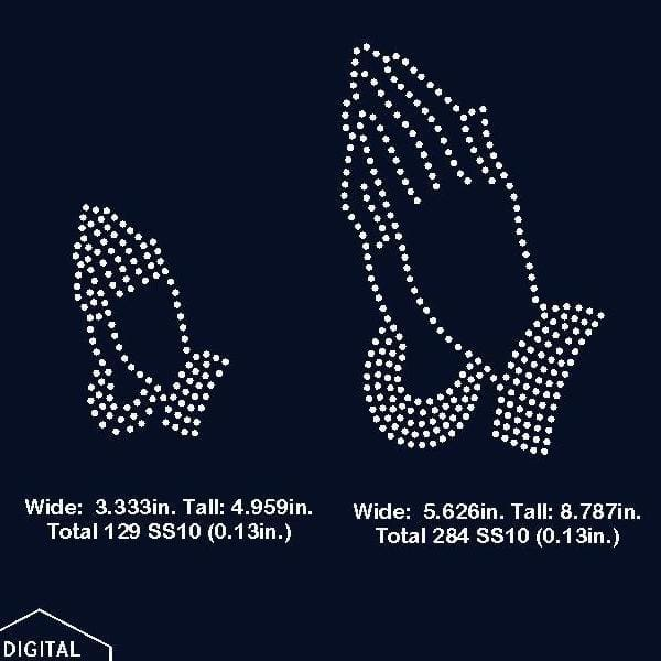 Pray praying hands rhinestone template digital download svg eps png dxf rhinestone template - Digital file
