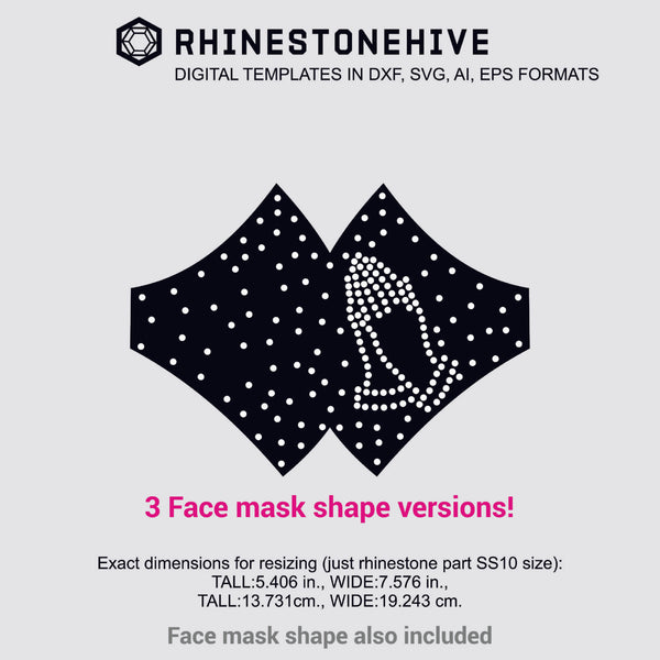 3 Face mask Praying hands rhinestone templates digital download, ai, svg, eps, png, dxf - rhinestone templates