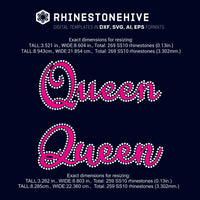 Queen HTV rhinestone template digital download, ai, svg, eps, png, dxf - rhinestone templates