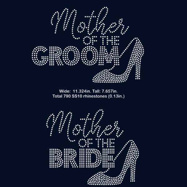 Mother of the Bride, Groom rhinestone template digital download, svg, eps, png, dxf SS10