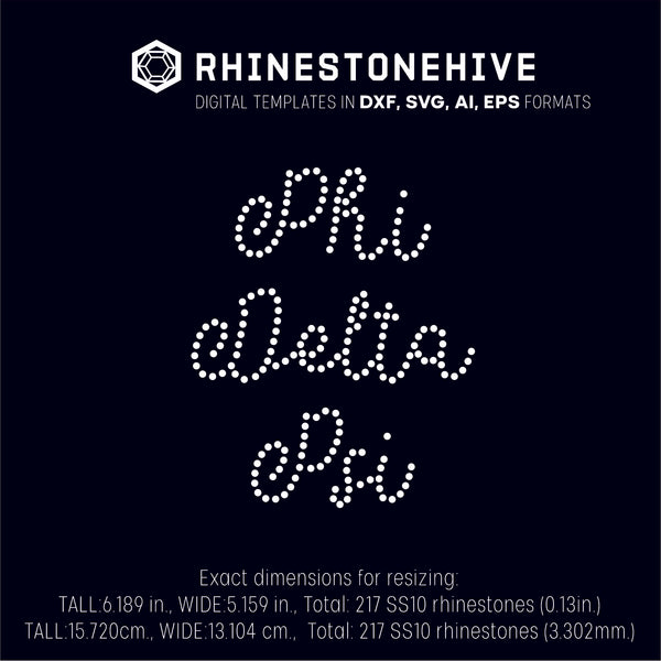 Phi Delta Psi Sorority rhinestone template digital download, ai, svg, eps, png, dxf - rhinestone templates