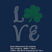 St Patrick, shamrock, love rhinestone template digital download, svg, eps, ai, png, dxf - rhinestone templates