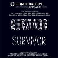 Survivor 2 styles rhinestone template digital download, ai, svg, eps, png, dxf - rhinestone templates