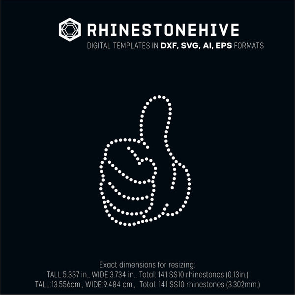 Thumbs up rhinestone template digital download ai svg eps png dxf - Digital file