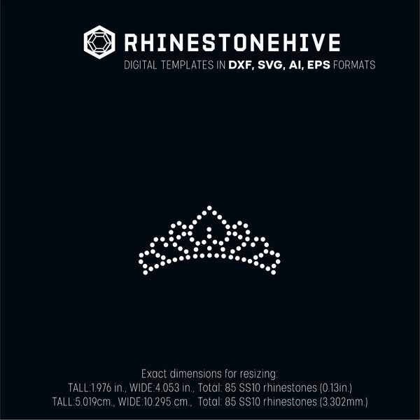 Tiara rhinestone template digital download, ai, svg, eps, png, dxf - rhinestone templates