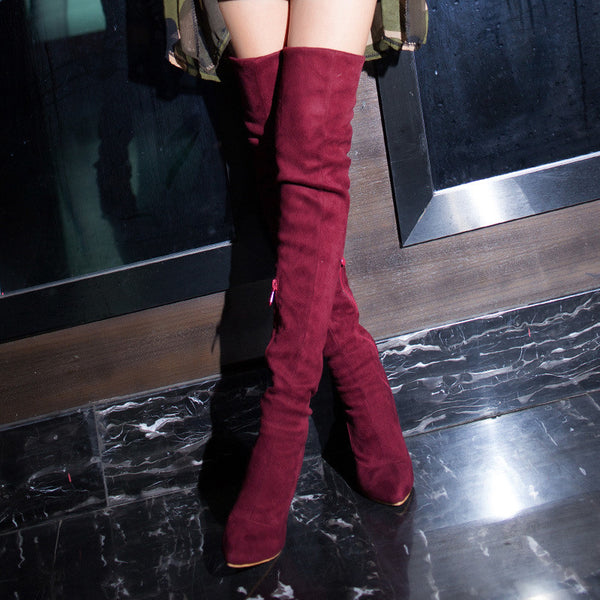 2015 winter Autumn New Side Zipper Knee Boots Women Solid Colors Spike Heels Fashion Comfor Knee Boots size 34-45 R1323