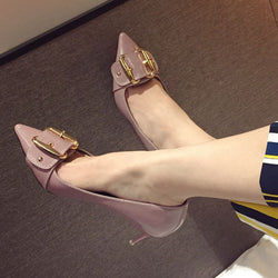 2016 Korea summer nude color thin high heels closed toe pointed pumps metal buckle PU sandals female sexy fashion elegant pumps
