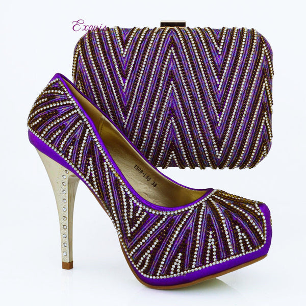 2016 NEW ARRIVAL  !!! Hot sale Lady italian design hight heel shoes with matching bags in purple. free shipping!!  1308-L66