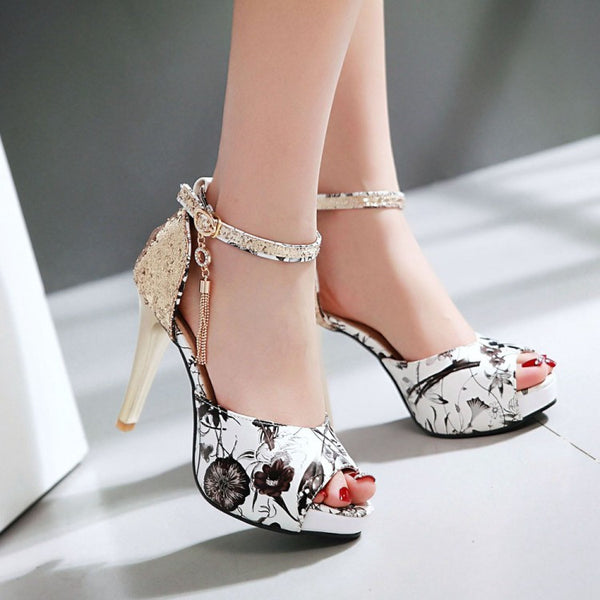 2016 New Summer Fashion Printing Tassel Wind Buckle Sandals High Heels Women Fish Mouth Paltform Shoes Tide Small Big Size 30-43