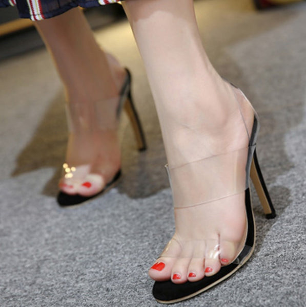 2016 Nude Black See Through Transparent Cool Sexy High heel sandals Peep Toe Gladiator  Pvc Summer Women Shoes