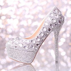 2016 Spring Ultra High Heels Crystal Women Wedding Shoes Shiny Rhinestones Bridal Dress Shoes Party Prom Pumps