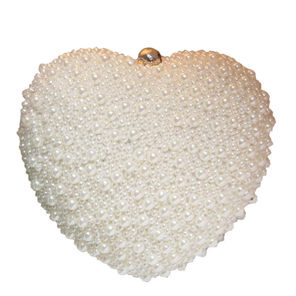 2016 Women Evening pearl Bead Handbags Ladies Wedding Day Clutches Party Bags heart style hangbag Feminina bolsa mujere XA679B