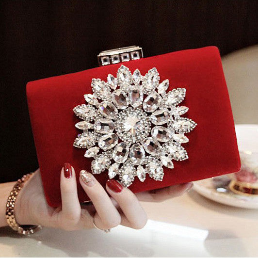 2016 New Single Side Sun Diamond Crystal Evening Bags Clutch Bag Hot Styling Day Clutches Lady Wedding woman bag Free Shipping