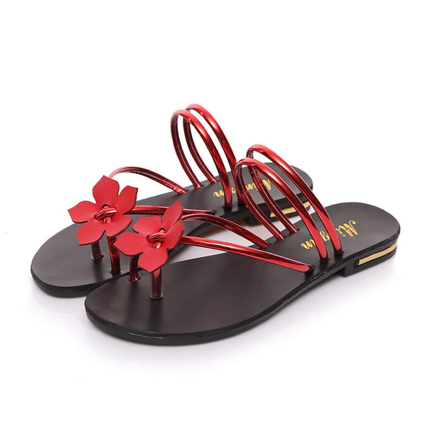 2017 Cute Flower gold Flat mules Sandals  Leather Sandals Women Beach Shoe Summer Women Slippers Sandalias Mujer Sandale Femme