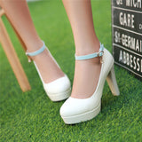 2017 Women Pumps Ankle Strap High Spike Heels Round Toe PU Patent Leather Spring Summer Autumn Dress Party Sexy Ladies Shoes
