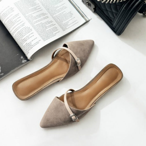 2017 Women Summer Shoes New Genuine Leather Closed Pointed Toe Suede Flat Mule Sandal Shoes Decorative Ladies Slippers Slides