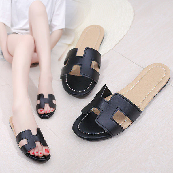 2017 Women's Fashion Slippers PU Sandals Shoes Beach H Flat Slippers Beach Air Mesh Slippers Breathable Classic Clogs Mules