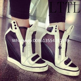 2017 Name Branded Fashion Wedges High Heels Real Picture Spring Autumn Zipper Women Shoes High Quality Low Price Female Shoes