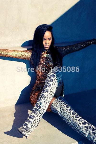 2017 Rihanna in  over the knee boots for Harper's Bazaar Magazine New Hip Hop Beats Women's boots snakeskin material of boots
