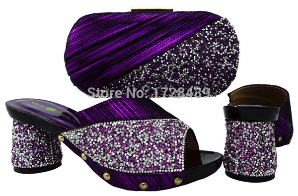 2017 latest Italian Shoes with Matching bags For Party african Shoes And Bag Set good quality high heels with crystal, EMF7213-1