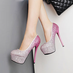 2017 new fashion sexy high heels Nightclubs shiny pieces with thin women 14 cm female