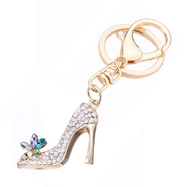 5PCS Novelty Trinket Rhinestone High heels Pendant Keychain Charm Women Handbag Keyring Creative Shoe Key Chain Holder R033