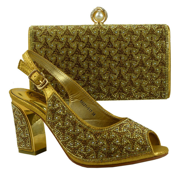 (89231-917) Gold Italian shoes and bags to match women/italian shoes with matching bag For High Quality PU material.
