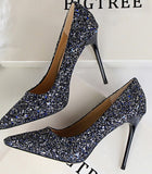 Champagne White Red Blue Gold Silver Black Multi Color Glitter Bling Bling Sequined Wedding Shoes Women Stiletto Pumps High Heel