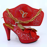 Coral Color Shoes and Bags To Match Hight Heel Shoes Italian Design African  Woman Shoe and Bag Set  MM1015