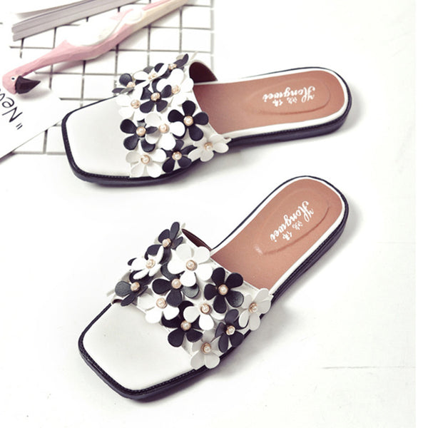 Cute Sweet Summer Womens Girls Casual Flats Beach Flip Flops Sandals Slippers Slides Pearl Flower Slip On Flat Mules black white