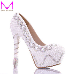 Free Shipping 2016 White Pearl Gorgeous Wedding Party Shoes Colorful Bridal Dress Shoes Good Quality High Heel Women Prom Pumps