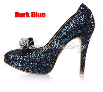 Evening and Wedding Shoes for Women Luxury Gold Rhinestone Round Toe Bridal Heels Prom Dress Shoes