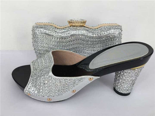 African Women shoe and bag to match set for party Italian women's shoe and bag set new design shoe and bag set TH31 Sliver Color